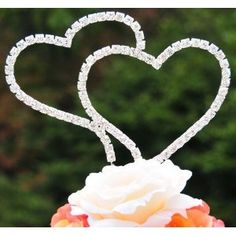 Swarovski Crystal Wedding Cake Topper Double Silver Heart