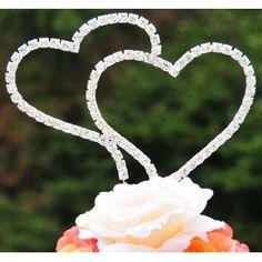Swarovski Crystal Wedding Cake Topper Double Silver Heart