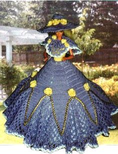 (1) CROCHET FASHION 366 YELLOW ROSES for 11 1/2 Fashion Dolls such as Barbie-Original Design from ICS Original Designs- Make with #10 Crochet Thread.  If you…