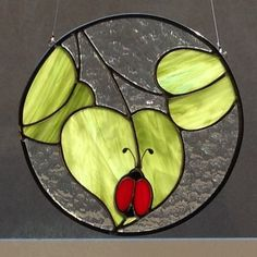 Hey, I found this really awesome Etsy listing at https://www.etsy.com/listing/217718838/stained-glass-leaf-and-ladybug