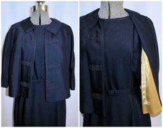 Vintage 1950's 1960's Navy Rayon Suit Set w/Dress by CicelysCloset
