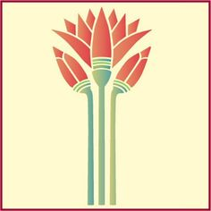 Egyptian Lotus Stencil Flower Stencils Japanese The Artful Stencil | eBay