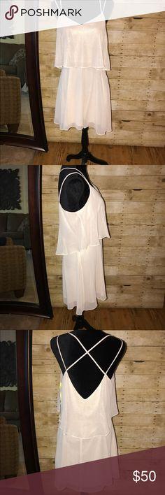 CeCe Pale Blush Dress CeCe Pale Blush Shimmer Dress. Elastic Waist With Double Criss Cross Spaghetti Straps. Lined. CeCe Dresses Midi