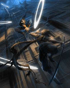 Marvel Vs Capcom 3 Official Art (Strider vs Spiderman)
