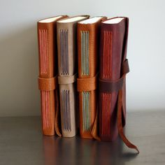 Leather long stitch books by linenlaid&felt Leather Bound Journal, Leather Bound Books, Diy Vintage Leather Journal, Handmade Notebook, Handmade Journals, Leather Book Covers, Leather Book Binding, Stitching Leather, Bookbinding Tutorial