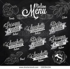 Menu Italian  the names of dishes of spaghetti, lasagna, pasta carbonara, bolognese and other ingredients tomato, basil, olive to design a menu stylized drawing with chalk on the blackboard.