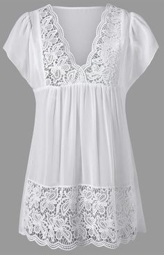 Lace Trim Cutwork Smock Blouse