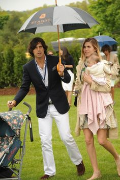 Great outfit for a party this weekend in Barcelona. Argentine polo player Nacho Figueras and Delfina Blaquier with daughter Alba.