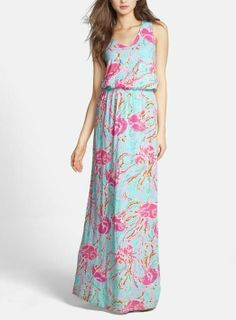 The pink and blue jellyfish print is adorable on this Lilly Pulitzer maxi dress.