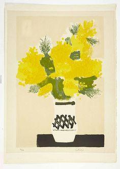 """Bernard CATHELIN 1919-2004 Ensemble de 2 lithographies   """"Bouquet jaune"""" et """"Bouquet sur fond rouge"""" Lithographies en couleurs signées et numérotées respectivement 44/140 et 8/165 , 75 x 53 cm, 76 x 55 cm"""