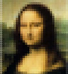 Mona Mosaic 7 [Jeff Clark] (Gioconda / Mona Lisa) Post It Art, Mona Lisa Parody, Acoustic Design, Mona Lisa Smile, Popular Paintings, Famous Art, Photo Retouching, Pixel Art, Pop Art
