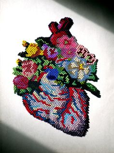 Blooming beaded heart patch, by Olya Mytsko via Etsy. Beaded Embroidery, Cross Stitch Embroidery, Cross Stitch Patterns, Diy Couture, My Funny Valentine, Peyote Stitch, Felt Hearts, Heart Art, Cross Stitching