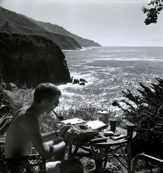 """Hunter Thompson writing at Big Sur. 1961 [[MORE]] someguyfromcanada: This picture was used as the cover of Thompson's """"Big Sur: The Tropic of Henry Miller"""" (Rogue Oct. The full article with. Hunter S Thompson, Big Sur, Fear And Loathing, Photography Exhibition, Portraits, Punk, Photos, Pictures, Persona"""