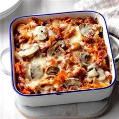 Italian Hot Dish Recipe -My husband had a poor perception of healthy food until he tried this beefy casserole. The combination of pasta, oregano, mushrooms and green peppers make it a favorite in our house. —Theresa Smith of Sheboygan, Wisconsin