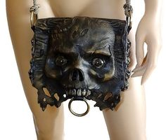 Zombie leather bag Rock Horror clutch Gothic bag by FamilySkiners Leather Art, Leather Tooling, Mad Max Mask, Leather Accessories, Fashion Accessories, Mode Steampunk, Skull Purse, Zombie Walk, Leather Bags Handmade