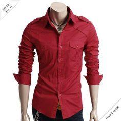 Doublju Mens Casual Shoulder Strap Shirts (CXJL)