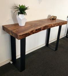 Recycled Elm slab hall table with black flat bar metal legs
