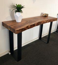 112. Elm slab hall table with black metal legs