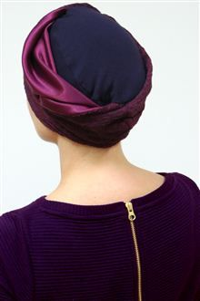Oh so stylish female hair loss turban for getting out and about! Super soft viscose jersey for the base turban, with a fabulously textured crimson trim fabric.