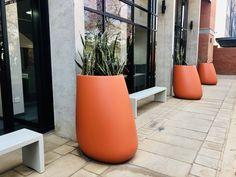 Innovators in all weather, light weight polyconcrete Concrete Pots, Concrete Design, Trough Planters, Planter Pots, Higher Design, Brick Building, Red Bricks, Outdoor Landscaping, Apartments