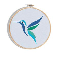 Hummingbirds set cross stitch modern bird bright geometric counted animal chart easy colourful - Cro