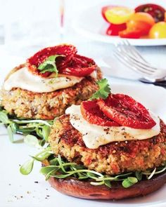 Quinoa-Veggie Burgers (omit oil, water saute instead, sub flax & water for egg)