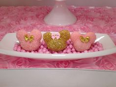 Sparkly cake pops at a pink and gold Minnie Mouse birthday party! See more party planning ideas at CatchMyParty.com!