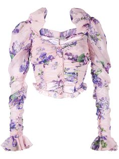 Alessandra Rich floral print cropped blouse
