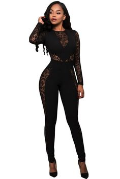a09834fb2025 Black Lace Spice Long Sleeves Jumpsuit
