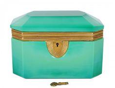 Brass Mounted Green Opaline Glass Box