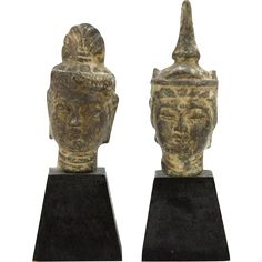 PAIR of Chinese Bronze Busts Of Guan Yin, Goddess of Mercy and Fertility, On Wooden Bases