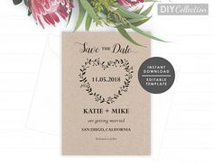 Best Rustic Wedding Images On Pinterest Card Templates - Rustic save the date templates