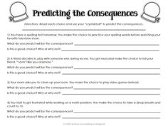 Printables Decision Making Skills Worksheets choices and consequences a decision making activity packet packet
