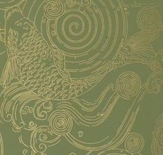 Burrows Studio: Japanese Carp. $60/roll, 23 3/4 self match, 26 1/2 trimmed width, 5 yards long per roll, special order metallic gold on green