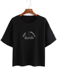 Cactus Embroidered Black T-shirt