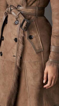 Long Shearling Trench Coat | Burberry