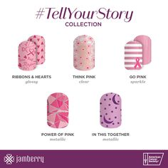 Show your support for Breast Cancer Awareness with these gorgeous wraps from the Tell Your Story collection! https://angiebullock.jamberry.com/us/en/shop/shop/for/nail-wraps?collection=collection%3A%2F%2F1075