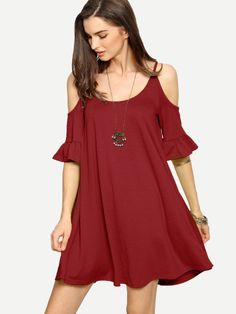 SheIn offers Cold Shoulder Ruffle Cuff Flowy Dress & more to fit your fashionable needs. Cute Dresses, Casual Dresses, Short Dresses, 60 Fashion, Fashion Outfits, Fashion Ideas, Light Dress, Latest Dress, Spring Dresses