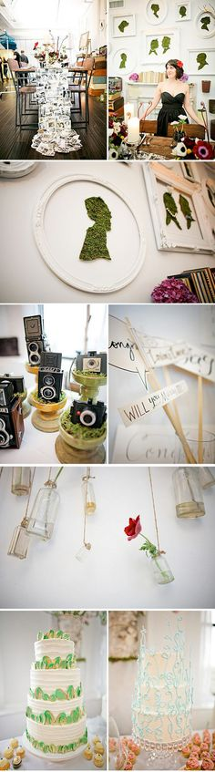 silhouettes cut from fake grass and framed. flowers in vintage bottles suspended by twine from the ceiling. vintage cameras inside of flower pots with moss. table runner made from vintage photos. so many brilliant ideas for decor!!