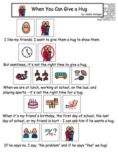 When You Can Give a Hug - Visual story for kids with autism.