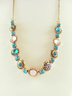 Aqua and pink stone necklace $5.91