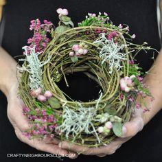DIY Herbstkranz aus Hopfen und Hortensien auf der Kreativzeit Bremen