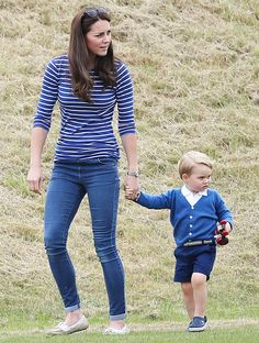 Kate Middleton and Prince George walked around the polo match in Tetbury, England on June 14.