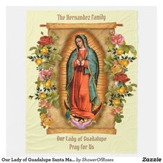 Our Lady of Guadalupe Santa Maria Spanish Virgin Fleece Blanket #catholicgifts #christmasgifts #guadalupe #traditionalcatholic #catholic
