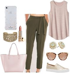 Blush and olive are an unexpected spring fashion color combo.