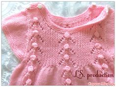 * Knitted dress for babe from yarn Children's Caprice
