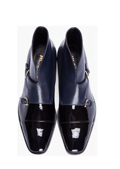 Jil Sander- Black & Blue Navy Patent Leather Monk Strap Boots