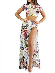 8c329a1c2af VLUNT Women 2 Piece Crop Top Long Skirt Jumpsuit Set Split Floral Print  Maxi Dress