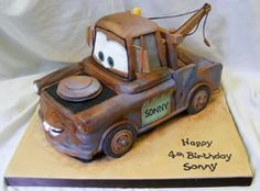 My next cake. hopefully I can do just as well! 3rd Birthday Cakes, Minnie Birthday, Tow Mater Cake, Cars Cake Pops, Disney Cars Cake, Festa Hot Wheels, Cake Gallery, Baby Party, Cupcake Cakes