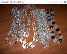 25 OFF SALE Clear Silver Tone and Black Plastic & by MICSJWL, $10.50